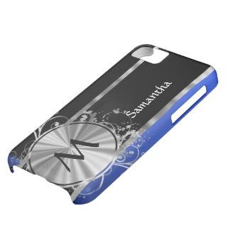 Monograma del negro azul y de la plata funda iPhone 5C