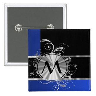 Monograma del negro azul y de la plata pin cuadrado