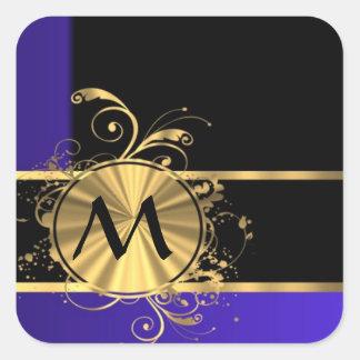 Monograma del negro azul y del oro pegatina cuadrada