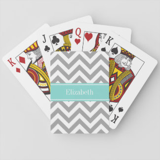Monograma del nombre de la turquesa de LG Chevron  Cartas De Póquer