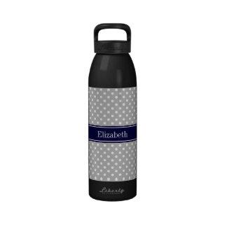 Monograma del nombre de los azules marinos de los  botella de beber