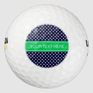 Monograma del nombre del verde esmeralda del lunar pack de pelotas de golf