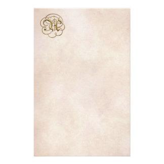 """Monograma del oro """"A"""" en el papel envejecido 1 - Papeleria Personalizada"""