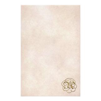 """Monograma del oro """"A"""" en el papel envejecido 2 - Papeleria De Diseño"""