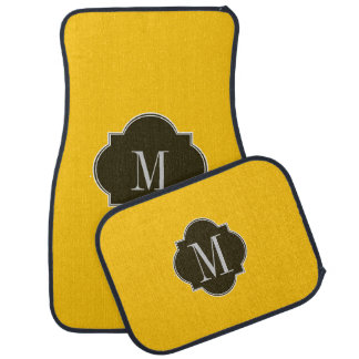Monograma del oro amarillo alfombrilla de coche