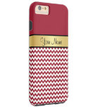 Monograma del oro. Chevron rojo y blanco picante Funda De iPhone 6 Plus Tough