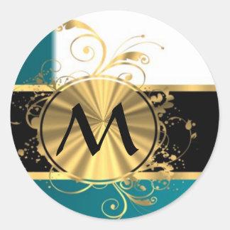 Monograma del oro del Aquamarine Pegatina Redonda