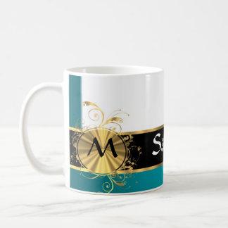 Monograma del oro del Aquamarine Tazas De Café