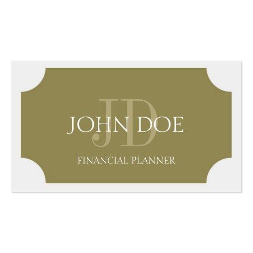 Monograma del oro del planificador tarjetas de visita
