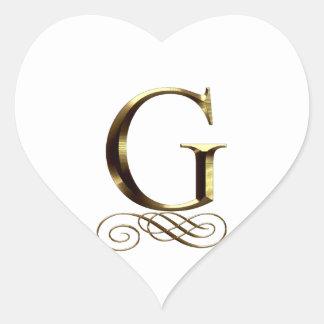 """Monograma del oro"""" G"""" del VIP Pegatina En Forma De Corazón"""
