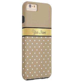 Monograma del oro. Lunar elegante del blanco de Funda Para iPhone 6 Plus Tough