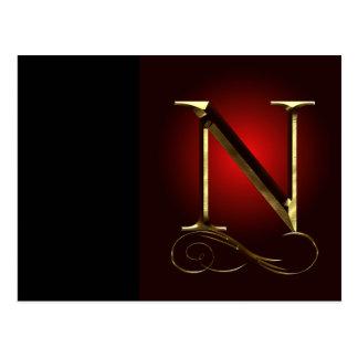 """Monograma del oro """"N"""" del VIP en rojo y negro Postal"""