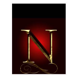 """Monograma del oro """"N"""" del VIP en rojo y negro Tarjetas Postales"""