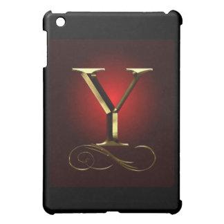"""Monograma del oro """"Y"""" del VIP en rojo y negro"""