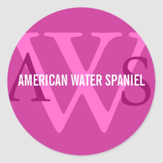 Monograma del perro de aguas de agua americana pegatina redonda