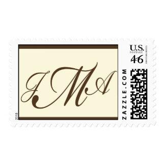 Monograma del personalizado de Brown y de la crema