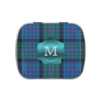 Monograma del personalizado de la tela escocesa de latas de dulces