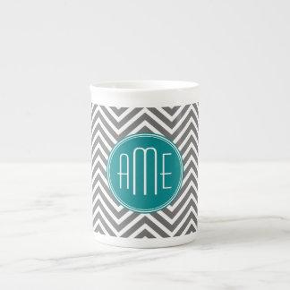 Monograma del personalizado de los galones del car taza de porcelana