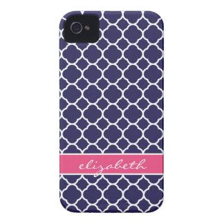 Monograma del personalizado de Quatrefoil de los a iPhone 4 Case-Mate Funda