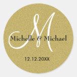 Monograma del personalizado del boda del oro del etiquetas redondas