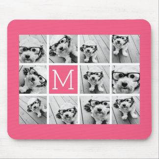 Monograma del personalizado del collage de la foto alfombrillas de raton