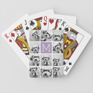 Monograma del personalizado del collage de la foto baraja de cartas