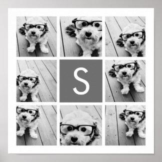 Monograma del personalizado del collage de la foto póster