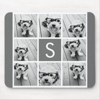Monograma del personalizado del collage de la foto tapete de ratón