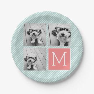 Monograma del personalizado del collage de la platos de papel