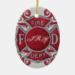 Monograma del personalizado del cuerpo de bomberos ornamento de reyes magos