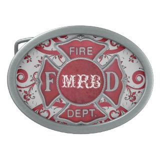 Monograma del personalizado del cuerpo de bomberos hebilla de cinturón oval