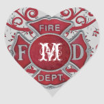 Monograma del personalizado del cuerpo de bomberos pegatina en forma de corazón