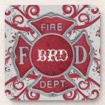 Monograma del personalizado del cuerpo de bomberos posavaso
