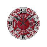 Monograma del personalizado del cuerpo de bomberos relojes de pared