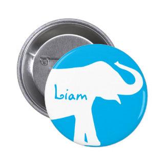 Monograma del personalizado del elefante azul y bl pins
