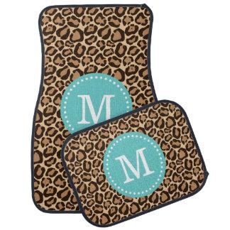 Monograma del personalizado del estampado leopardo alfombrilla de auto
