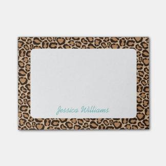 Monograma del personalizado del estampado leopardo notas post-it®