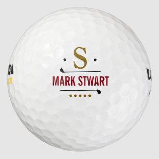 monograma del personalizado del golfplayer pack de pelotas de golf