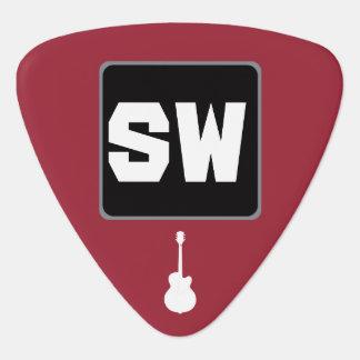 monograma del personalizado del guitarra-jugador plectro