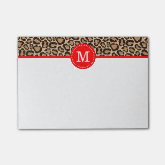 Monograma del personalizado del rojo y del post-it® nota