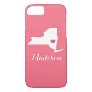 Monograma del personalizado del rosa del corazón funda iPhone 7