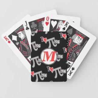 Monograma del personalizar - día del corazón pi de baraja cartas de poker