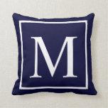 Monograma del personalizar en azules marinos almohada