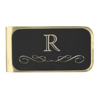 Monograma del remolino del oro clip para billetes dorado