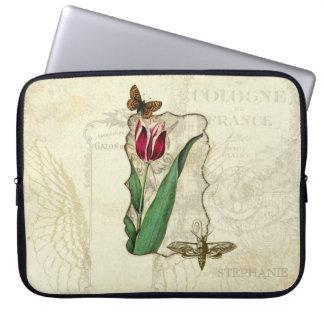 Monograma del remolino del tulipán de las alas del funda computadora
