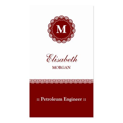 Monograma del rojo del ingeniero del petróleo tarjetas de visita