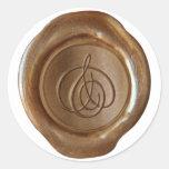 Monograma del sello de la cera - cobre - escritura pegatinas redondas