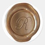 Monograma del sello de la cera - cobre - escritura etiqueta redonda