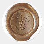 Monograma del sello de la cera - cobre - escritura pegatina redonda