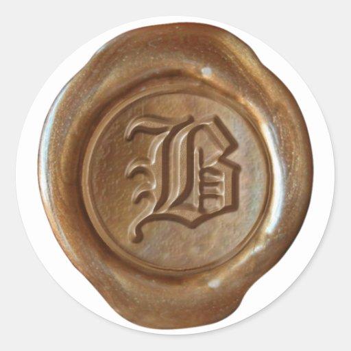 Monograma del sello de la cera - cobre - viejo pegatina redonda